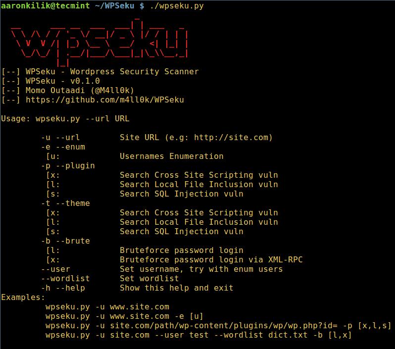 WPSeku WordPress Vulnerability Scanner Help