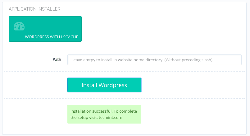 WordPress Installation Completed