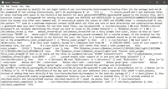 Một file .bashrc được mở trong Notepad
