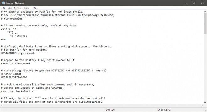 File .bashrc ở trên được hiển thị ở Notepad mới