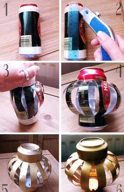 Làm đèn lồng bằng lon bia