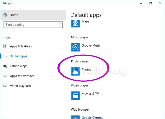 Tìm Photo Viewer trong cài đặt ứng dụng mặc định trên Windows 10