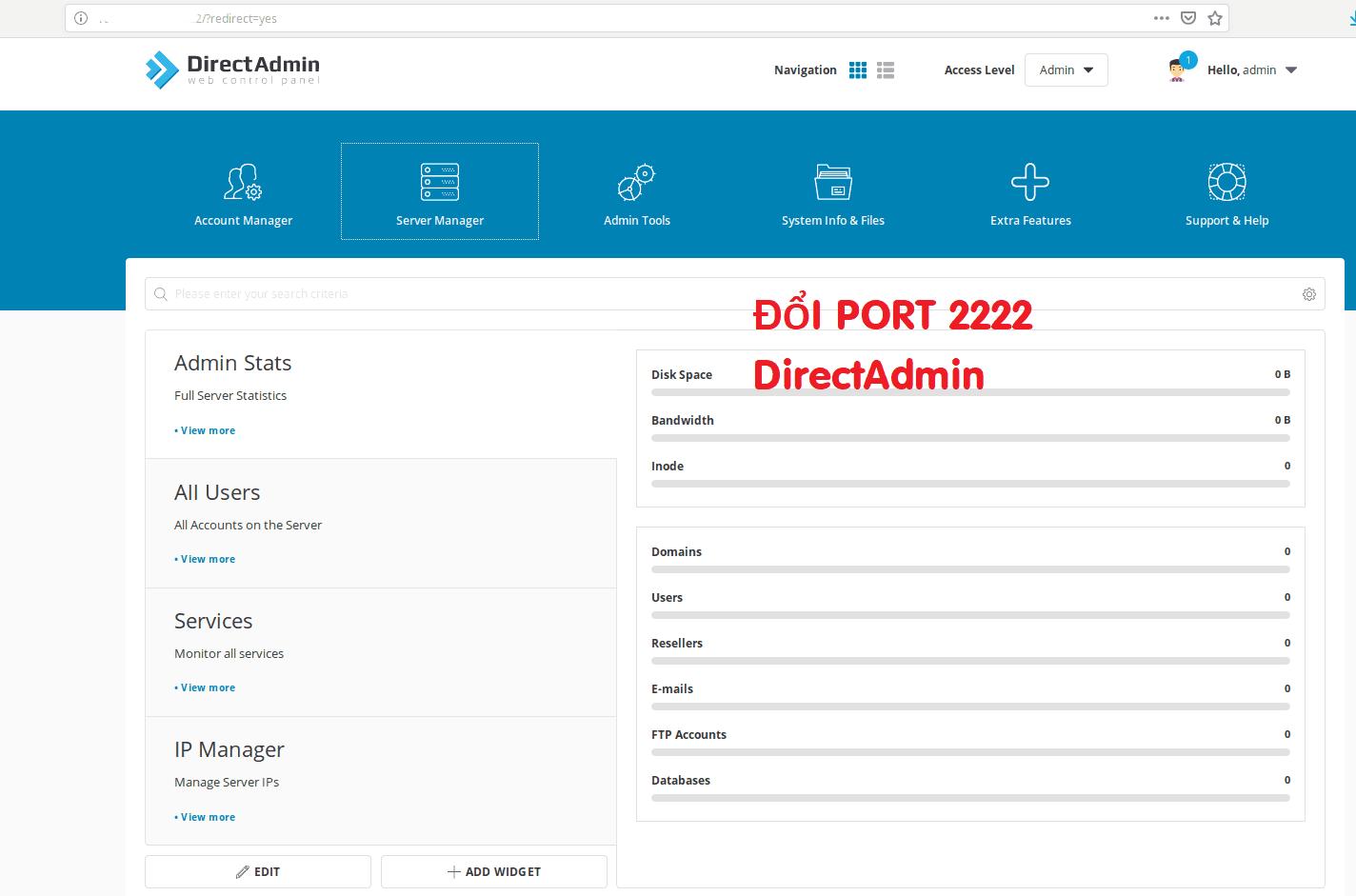 Hướng dẫn đổi port 2222 mặc định của DirectAdmin 11