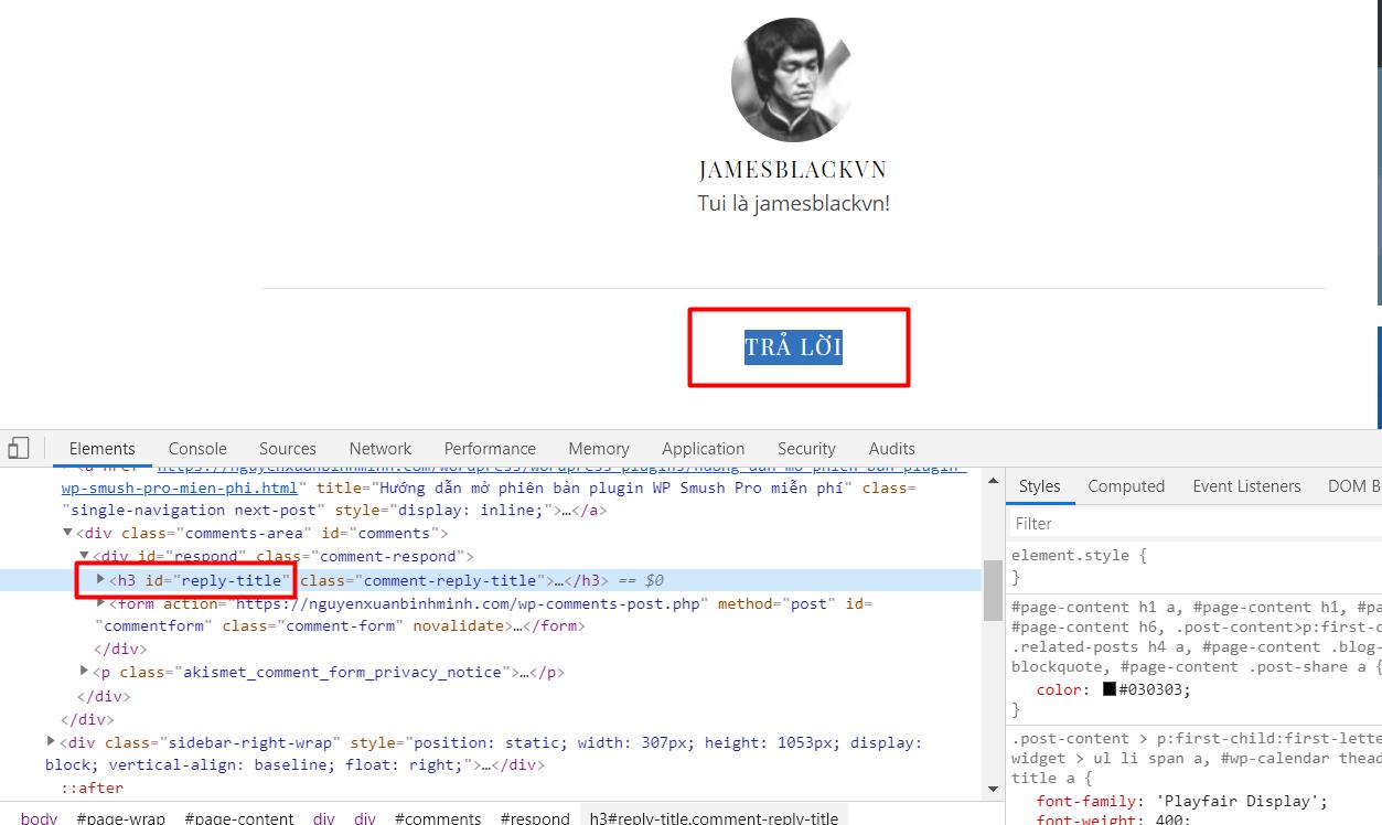 Xoá thẻ H3 tại mục reply bình luận của WordPress 4