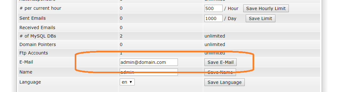 Change Admin E-mail in Directadmin with Enhanced Skin