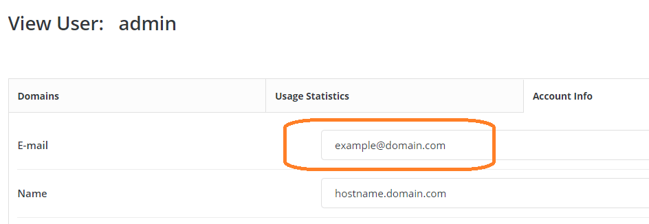Change Admin E-mail Address in Directadmin with Evlolution Skin