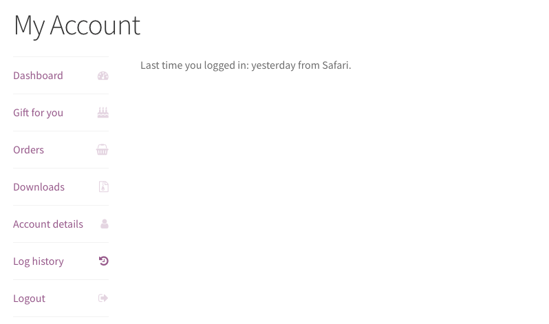Custom My Account menu element with its own page.