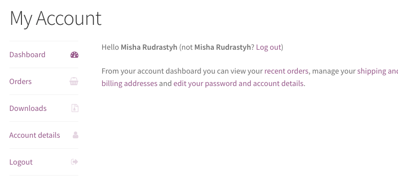 WooCommerce My Account menu with removed Addresses link.